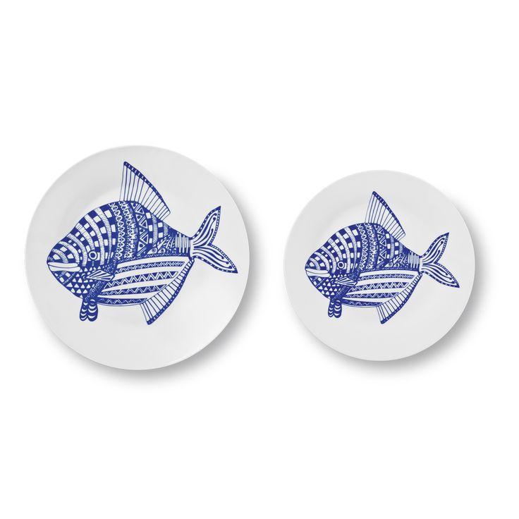 Talerze obiadowe i zakąskowe - żeby nie było nudno w morskim stylu! #talerz #ryba  #plate #plates #fish #fishdesign #design #bluefish #tigerpolska #tigerstores #sea #morze #rzeka #river #ocean