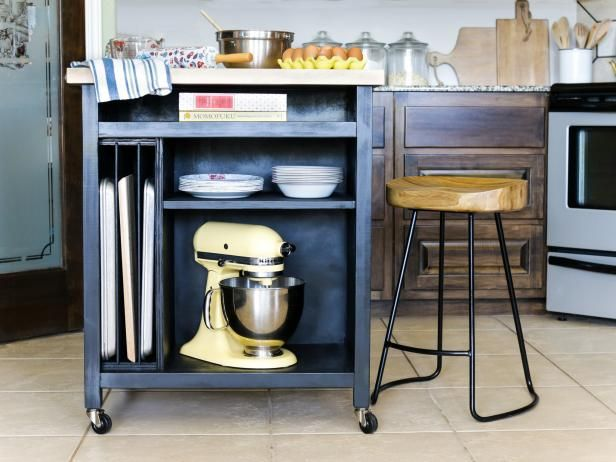 Need some extra workspace in your kitchen? Build a rolling island for added functionality and style. One side stores a stand mixer, sheet pans, cutting boards and more, while the other side allows for extra seating. Perfect for small spaces, this portable kitchen island easily rolls out when you need it and neatly tucks away when you don't.