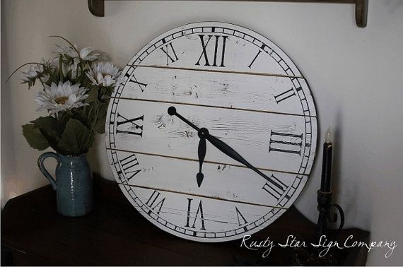 22 Inch Rustic Wall Clock Large Wooden by RustyStarSignCompany