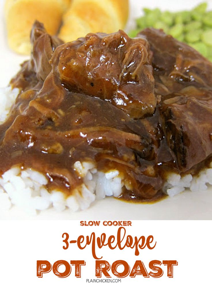 Three Envelope Pot Roast {Slow Cooker} - one of THE BEST pot roast recipes on the internet! Everyone loves this pot roast! Roast, salsa, onion soup, italian dressing and au jus mix. Use leftovers to make sliders. We eat this at least once a month!