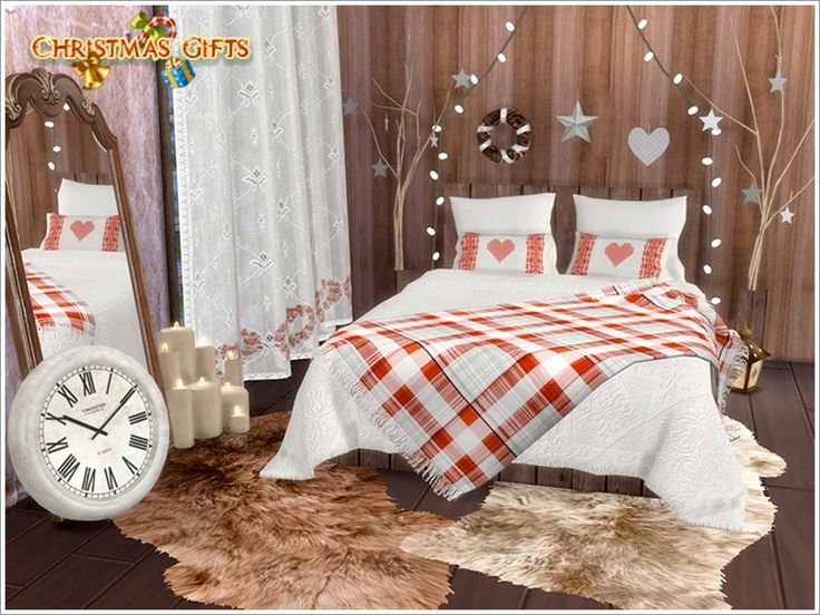A set of furniture and decor for the bedroom decoration to Christmas in a Scandinavian style.  Found in TSR Category 'Sims 4 Adult Bedroom Sets'