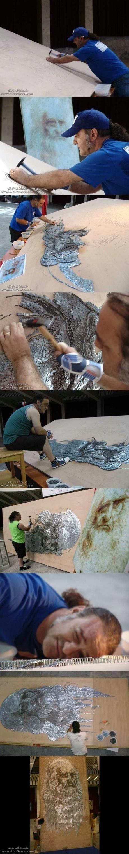 Da Vinci artwork using only nails