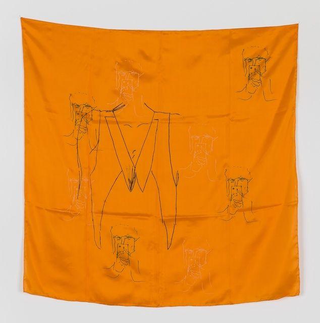 ANNA K.E. & FLORIAN MEISENBERG Late Checkout (scarf), 2015 Silkscreen and letterpress on silk scarf 34 1/2 × 34 1/2 in