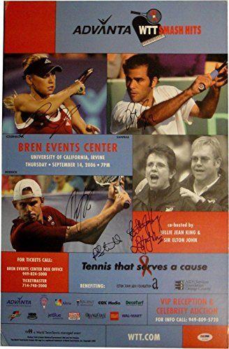 Anna Kournikova Sampras Billie Jean King Elton John Roddick Signed 15x24 Poster - Autographed Tennis Photos