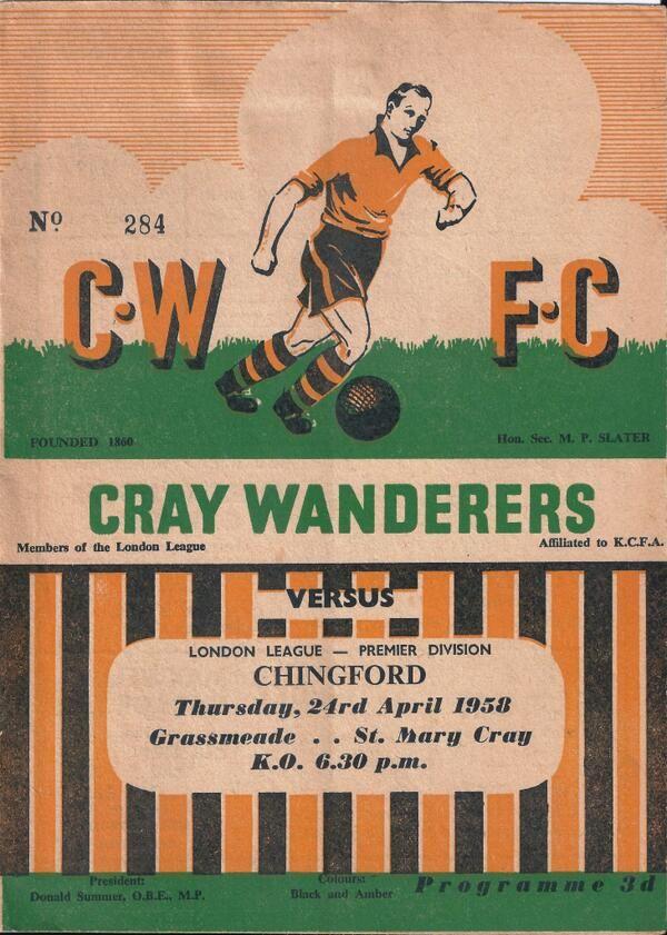 Cray Wanderers v. Chingford, 1958