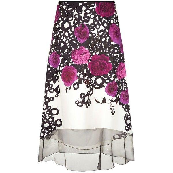Marina Rinaldi Floral Print A-Line Skirt ($960) ❤ liked on Polyvore featuring skirts, marina rinaldi, floral printed skirt, white knee length skirt, floral a line skirt and floral skirts