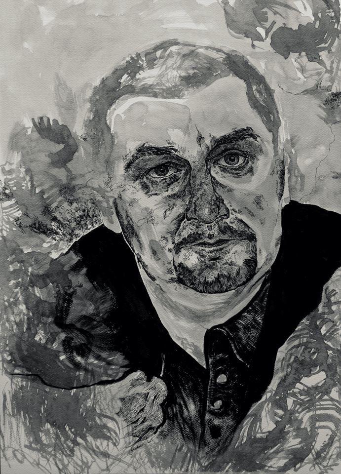 """Portret Arka"", rapidograf i tusz, 60x42cm"