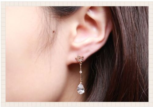 Gold Plated Earring 925 Sterling Silver CZ stud beautiful cubic [sg-055-1] $5 eBay