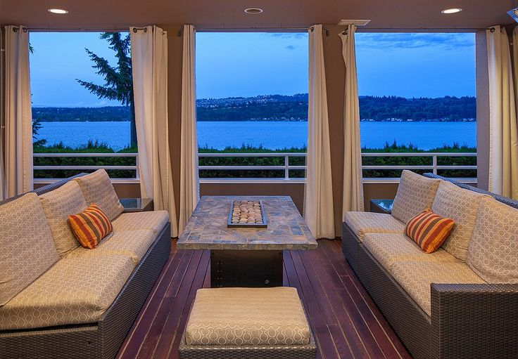 This home takes the concept of indoor outdoor living to a whole new level. Could you image anything better than relaxing in the comfort of your own home, next to one of the most unique fireplaces ever created, with unparalleled water front views? A truly incredible home. Mercer Island, WA Coldwell Banker BAIN $5,695,000Covers Outdoor, Indoor Outdoor Living, Outdoor Living Rooms