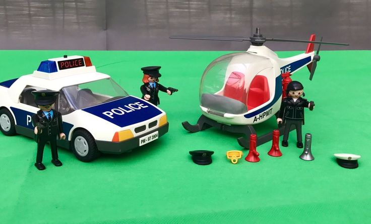 Vintage Playmobil Bundle Police Car Helicopter People Guns Flashing Lights kids