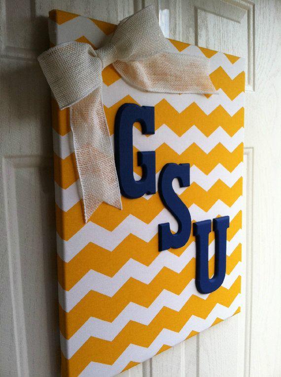 Georgia Southern University Chevron Canvas by PraisingHimCreations, $38.00