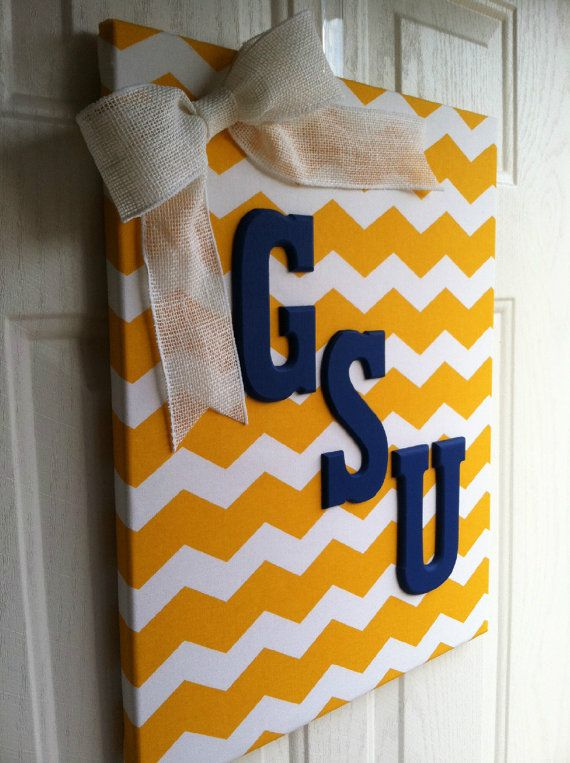 Georgia Southern University Chevron Canvas by PraisingHimCreations, $38.00