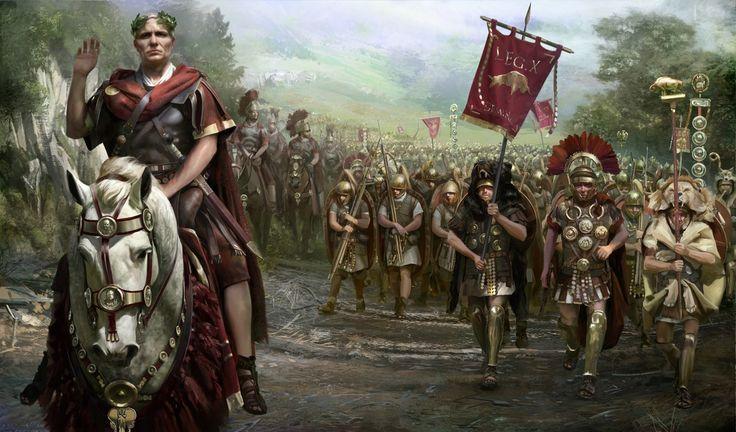Julio César al frente de sus legiones.  http://www.elgrancapitan.org/foro/viewtopic.php?f=87&t=16979&p=887241#p887241