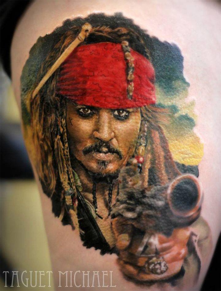 Captain Jack Sparrow Tattoo - http://giantfreakintattoo.com/captain-jack-sparrow-tattoo/
