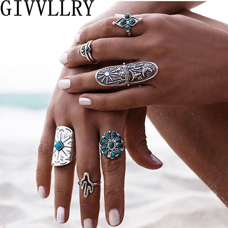 9pcs/lot Vintage Ethnic Bohemian Boho Ring Turquoise Geometric Totem Anillos Bague Knuckle Rings Punk Jewelry for Women Anel