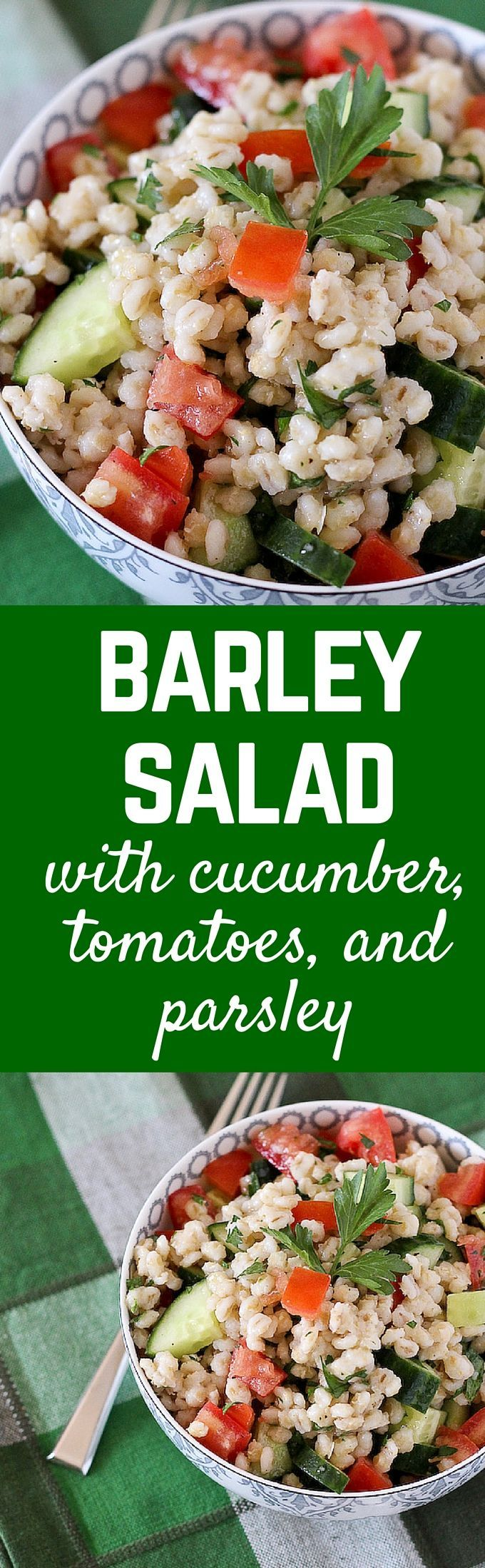 This Barley Salad with cucumbers, tomatoes and parsley is a a refreshing, healthy, and filling summer salad. It works great as a side dish or as a complete meal. Get the recipe on http://RachelCooks.com!