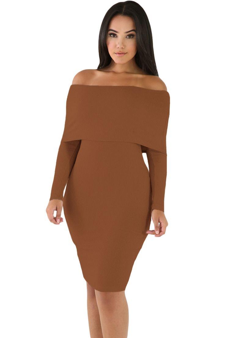 Sukienka sweterkowa odkryte ramiona brązowa