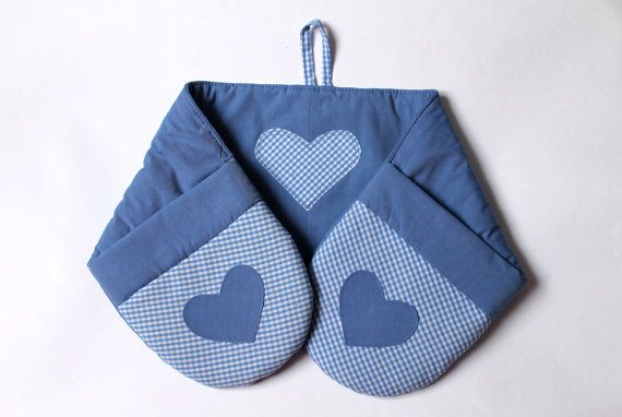 Blue Oven Mitt for two Hands Double Oven Mitt for your kitchen comfort Fabric Pot Holders with Heart Ornament Kitchen Interior Design