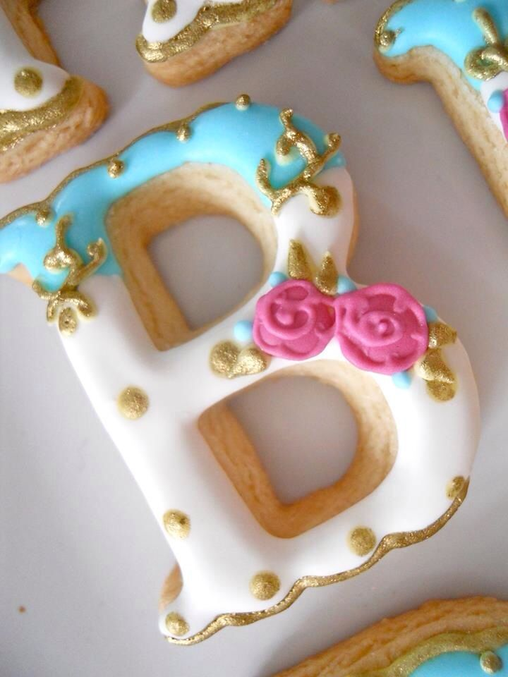 Monogram cookies. Inspo for a shower.
