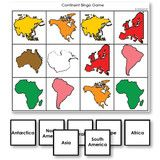 Montessori 123 - Continent Identification Bingo Game by shape and Montessori color - Montessori Materials