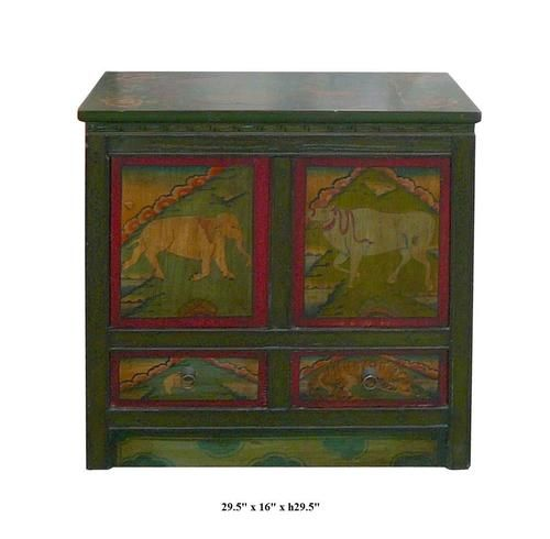 This Tibetan Altar Table Is Made Of Solid Elm Wood And Hand Painted With  Elephant,