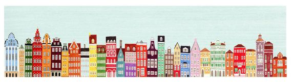 Combined Colorful European Buildings Skyline Mega by annasee, $64.00