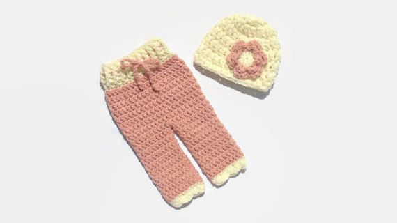 Crochet Newborn Girl Pants and Hat Baby Girl by DeesCozyCreations