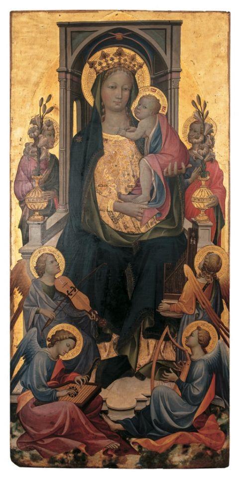 Gherardo di Jacopo, detto Gherardo Starnina, Madonna col Bambino tra angeli, scomparto centrale di polittico – Martin von Wagner Museum der Universitat Wurzburg