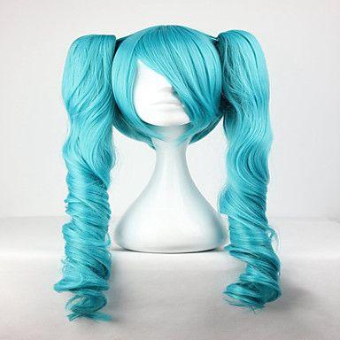 mode mästare grön blandad vocaloid miku 65cm långt vågigt Flätad syntetiska flickans hår cosplay peruk 5346698 2016 – Kr.189