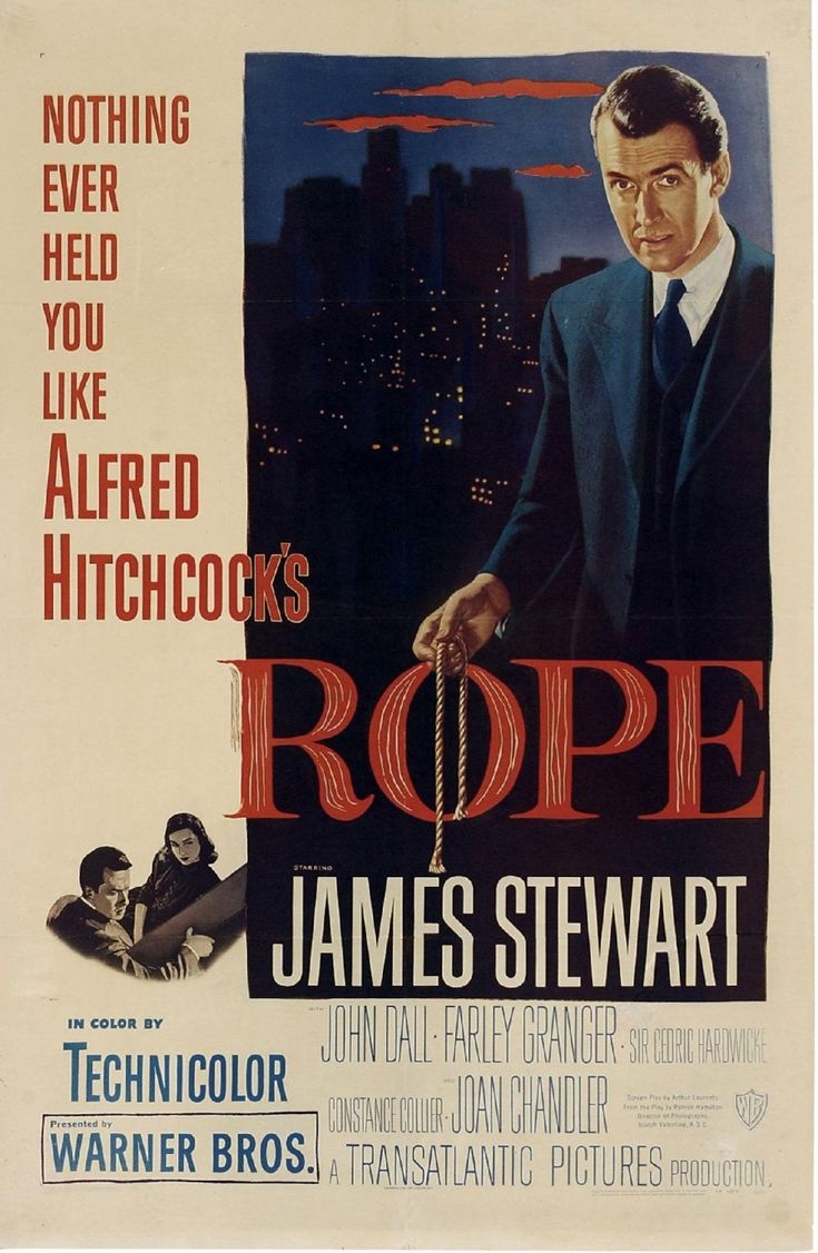 Rope (1948) | One of the classic Hitchcock movies in terms of film styling. The claustrophobic, one-location theatrical location adds to the tension of the movie. Jimmy Stewart is fascinating to watch as he gradually digs away and his suspicions grow. This feels even today like quite a dark movie, almost making casual murder seem ok, from the two protagonists' point of view. | Directed by: Alfred Hitchcock | #Hitchcock #HitchcockMovie