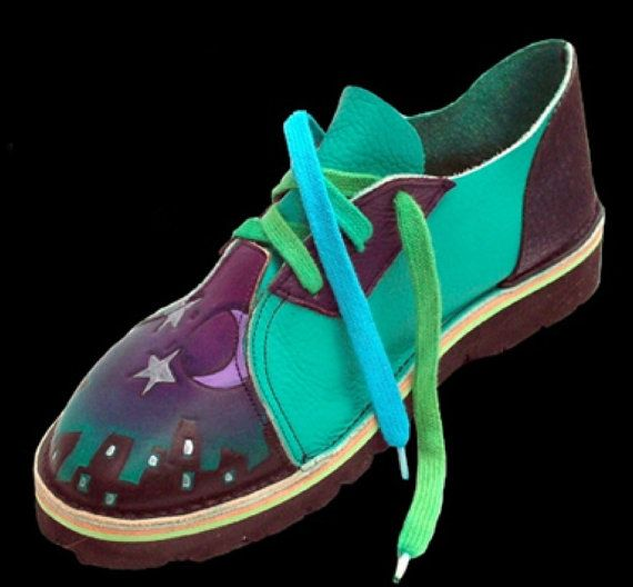 Leather Handmade Shoes - City in fog, Painting Green Purple Black, Custom Made Size 5, 6, 7, 8, 9, 10 Moon Stars Buildings
