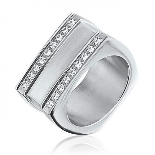 Grooved Two Row Geometric Square CZ Stainless Steel Mens Ring