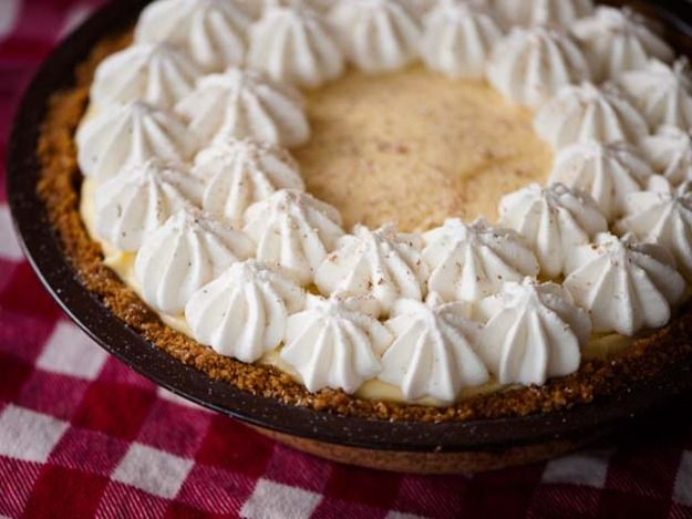Eggnog Cream Pie If you're a fan of store-bought eggnog, this is the pie for you. It's filled with a rich pudding made from eggnog and lightened with clouds of whipped cream.