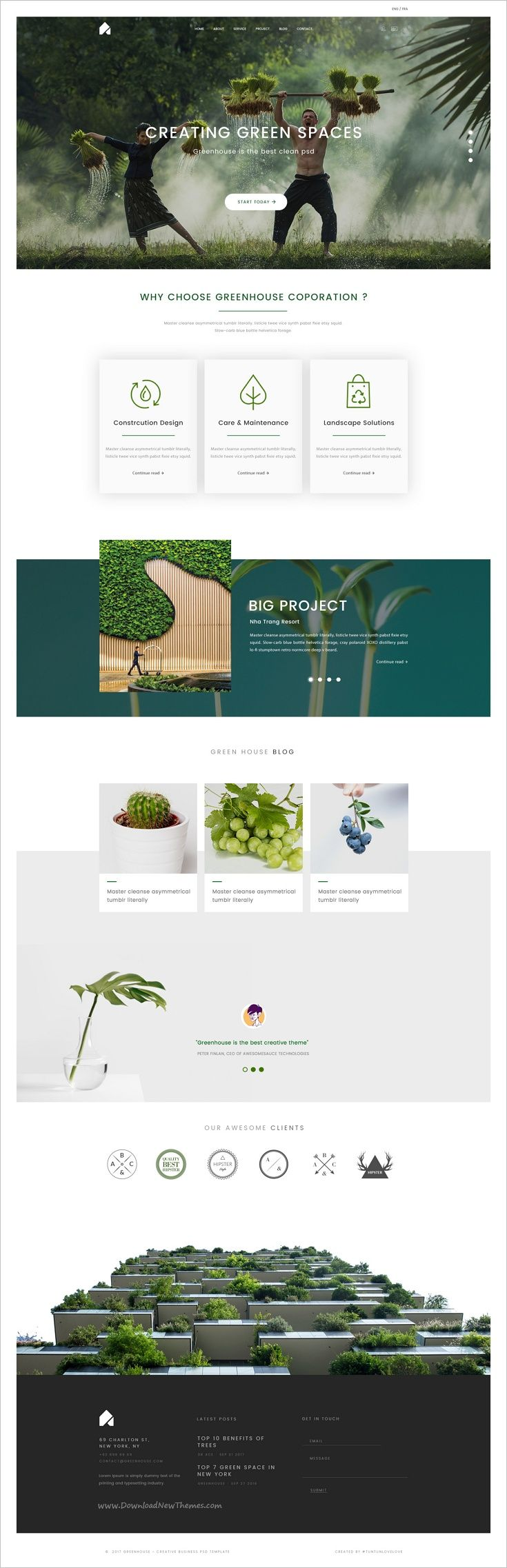GreenHouse clean and modern design #Photoshop #template for creative #business websites with 11 organized PSD pages download now➩ https://themeforest.net/item/greenhouse-creative-business-psd-template/19254568?ref=Datasata