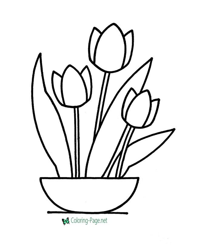 Flower Coloring Pages Tulips In Bowl Flower Coloring Pages Printable Flower Coloring Pages Easy Coloring Pages