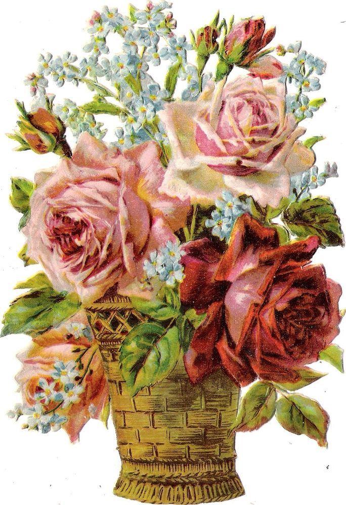 Oblaten Glanzbild scrap die cut chromo Rosen Korb 17cm basket  fleur  rose
