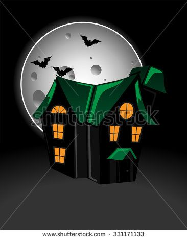 Haunted house in moonlight