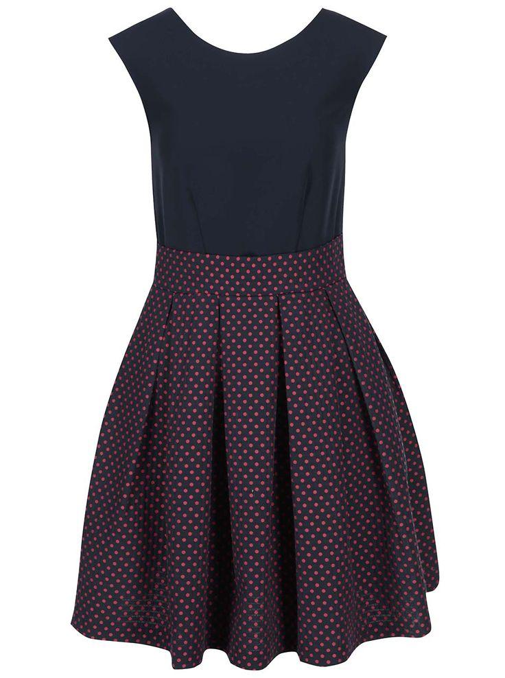 Červeno-modré šaty s bodkovanou sukňou Closet