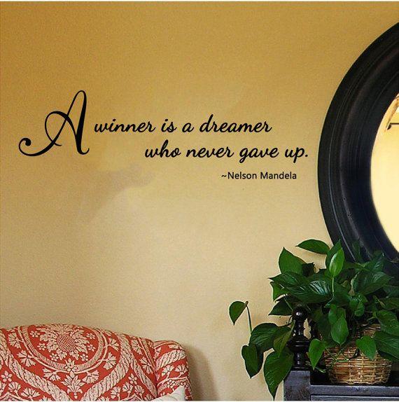"""Citazione di Nelson Mandela - un vincitore è un sognatore chi mai ha dato Up - Wall Decal (26 """"X 8"""")"""