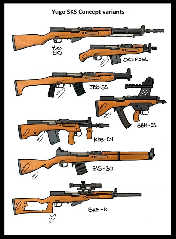 "Yugo SKS Battlerifle Variants. 1. Stock Yugo SKS rifle. 2. Modified Sawed off SKS ""Pistol"". 3. SKS Variant JBS-53 altered version of a SKS-D model (able to accept AK-47 mags). 4. SBM-25 Custom pistol caliber bullpup SKS platform based weapon, Caliber 7.62x25mm 5. KSS Modified Bullpup SKS w/ 20rd magazine. 6. SVS WWII Semi auto prototype rifle 7,62x54R (long action SKS) 7. Customized SKS for target shooting."