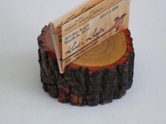 Wooden Live Edge Sassafras Business Card Holder by KentsKrafts
