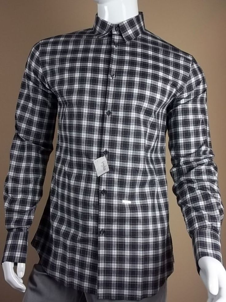 $540 DSquared Plaid French Cuff Shirt size 54 | XL D2 Classic Shirt Dean Dan New #DSquared #ButtonFront