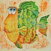 Картины и панно ручной работы. Ярмарка Мастеров - ручная работа Зелёно-оранжевые рыбки (батик панно). Handmade.