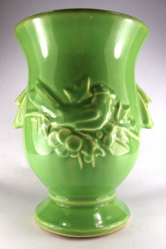 Vintage McCoy Pottery Vase Art Deco Green 1950s Bird Berries Motif Art MC Coy   eBay