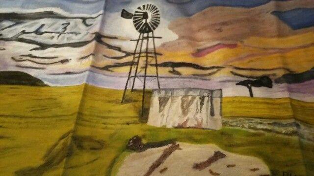 Wind mill during sunset. Oil paint on canvas. Artist is Charl Blignaut (Blikkies). 2013