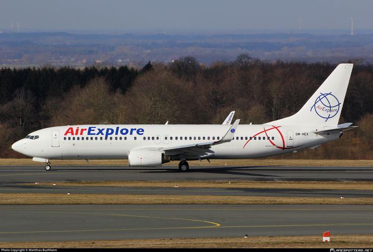 Air Explore Boeing 737-81Q(WL) OM-HEX aircraft, skating at Germany Paderborn Lippstad Airport. 22/02/2015.