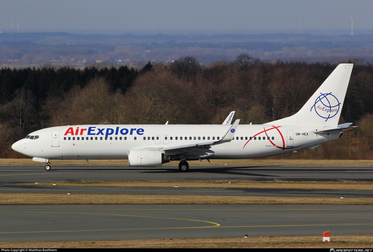 Air Explore Boeing 737-81Q(WL) OM-HEX aircraft, skating at Germany Paderborn Lippstad Airport. 22/02/2015.