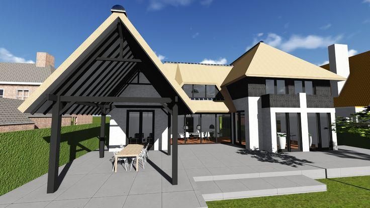 Architectenbureau Tenback de Groof. Modern Villa, Rietgedekt  #modern #design #brick #architecture #skylight #overdekt #terras