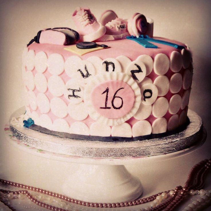 #16th #birthday cake for a girly girl who is very funky! #handmade #sugarshoes #shoes #pink #spots