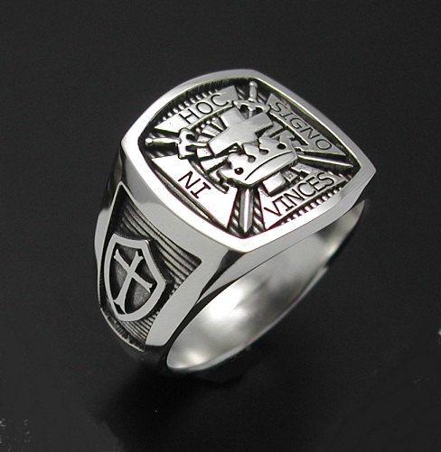 Sterling Silver Knights Templar Masonic Cross ring 017